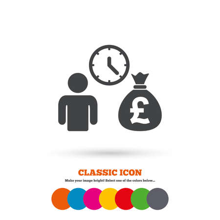 borrow: Bank loans sign icon. Get money fast symbol. Borrow money. Classic flat icon. Colored circles. Vector