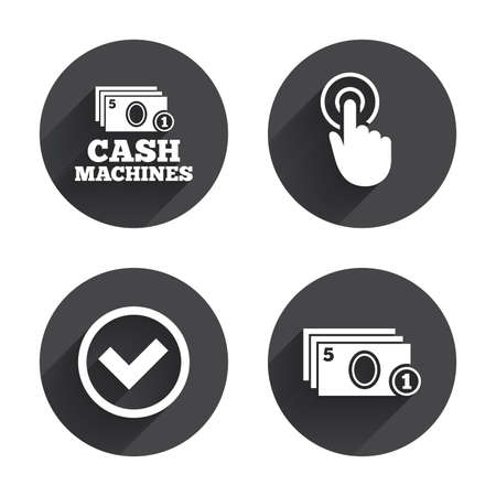 withdrawal: ATM cash machine withdrawal icons. Click here, check PIN number, processing and cash withdrawal symbols. Circles buttons with long flat shadow. Vector