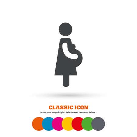 임신 기호 아이콘. 여성의 임신 기호. 클래식 플랫 아이콘입니다. 컬러 원. 벡터