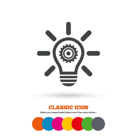 classic light bulb: Light lamp sign icon. Bulb with gear symbol. Idea symbol. Classic flat icon. Colored circles. Vector Illustration
