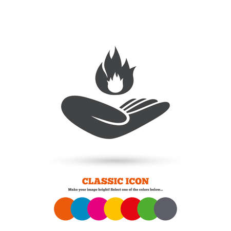 against: Insurance against fire sign icon. Hand holds fire flame symbol. Classic flat icon. Colored circles. Vector Illustration