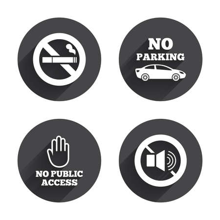 private access: Stop smoking and no sound signs. Private territory parking or public access. Cigarette and hand symbol. Circles buttons with long flat shadow. Vector