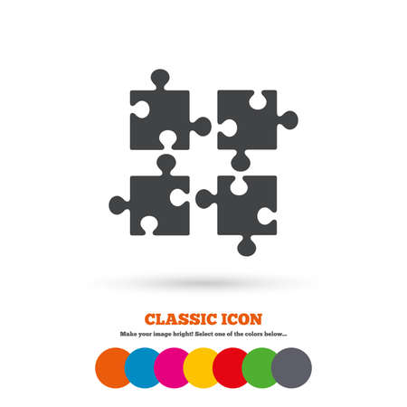 ingenuity: Puzzles pieces sign icon. Strategy symbol. Ingenuity test game. Classic flat icon. Colored circles. Vector