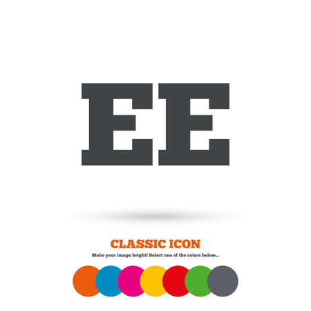 ee: Estonian language sign icon. EE translation symbol. Classic flat icon. Colored circles. Vector