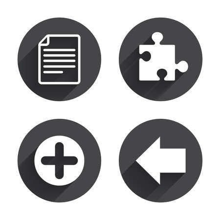puzzle corners: Plus add circle and puzzle piece icons. Document file and back arrow sign symbols. Circles buttons with long flat shadow. Vector Illustration