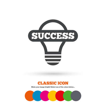 classic light bulb: Light lamp sign icon. Bulb with success symbol. Idea symbol. Classic flat icon. Colored circles. Vector Illustration
