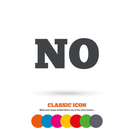 Norwegian language sign icon. NO Norway translation symbol. Classic flat icon. Colored circles. Vector Illustration