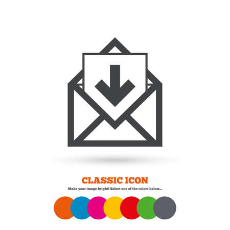 inbox: Mail icon. Envelope symbol. Inbox message sign. Mail navigation button. Classic flat icon. Colored circles. Vector Illustration