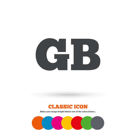 gb: British language sign icon. GB Great Britain translation symbol. Classic flat icon. Colored circles. Vector Illustration