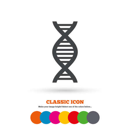 deoxyribonucleic: DNA sign icon. Deoxyribonucleic acid symbol. Classic flat icon. Colored circles. Vector