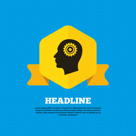 head tag: Head with gear sign icon. Male human head symbol. Yellow label tag. Circles seamless pattern on back. Vector Illustration