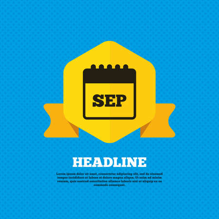 sep: Calendar sign icon. September month symbol. Yellow label tag. Circles seamless pattern on back. Vector