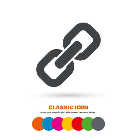 hyperlink: Link sign icon. Hyperlink chain symbol. Classic flat icon. Colored circles. Vector Illustration