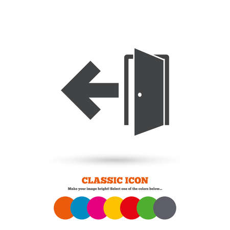 emergency exit sign icon: Emergency exit sign icon. Door with left arrow symbol. Fire exit. Classic flat icon. Colored circles. Vector
