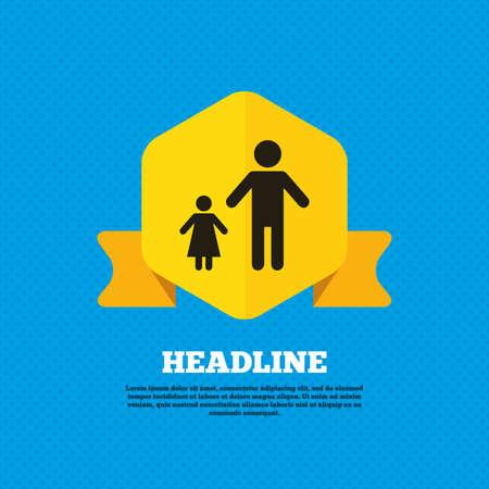 Familia monoparental con el icono de signo de un niño. Padre con el símbolo de la hija. Etiqueta de la etiqueta del amarillo. Círculos patrón transparente en la parte posterior. Vector Foto de archivo - 43041531