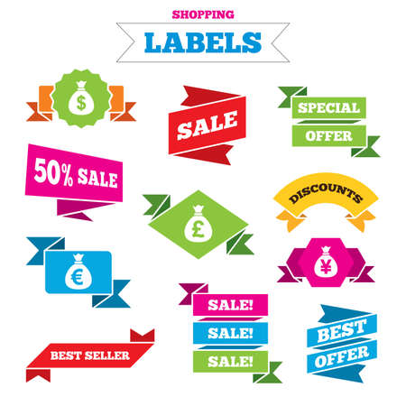 Sale shopping labels. Money bag icons. Dollar, Euro, Pound and Yen symbols. USD, EUR, GBP and JPY currency signs. Best special offer. Vector