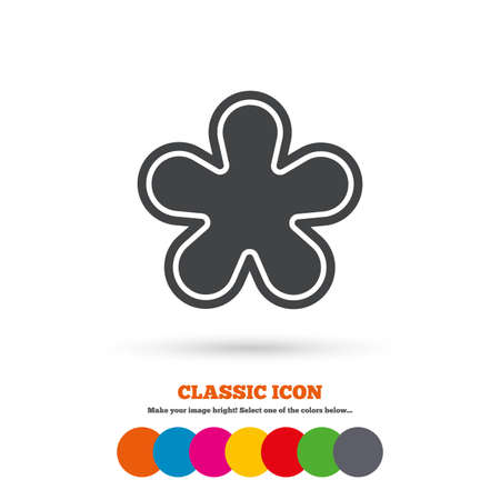 more information: Asterisk round footnote sign icon. Star note symbol for more information. Classic flat icon. Colored circles. Vector Illustration