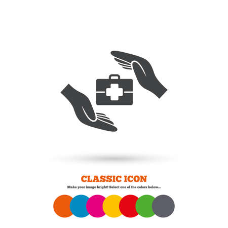 medical case: Medical insurance sign icon. Health insurance symbol. Doctor case. Classic flat icon. Colored circles. Vector