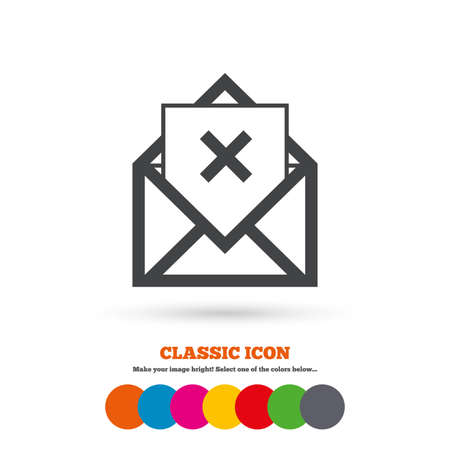 delete icon: Mail delete icon. Envelope symbol. Message sign. Mail navigation button. Classic flat icon. Colored circles. Vector