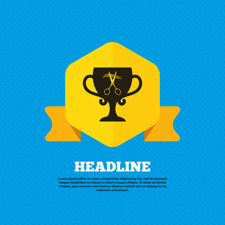 yellow hair: Scissors cut hair sign icon. Hairdresser or barbershop symbol. Winner award cup. Yellow label tag. Circles seamless pattern on back. Vector