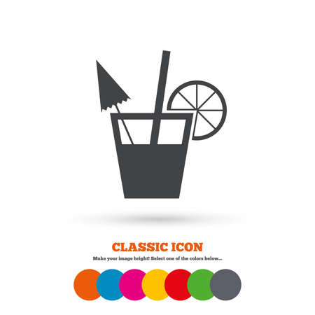 alcoholic drink: Cocktail sign. Alcoholic drink symbol. Classic flat icon. Colored circles. Vector