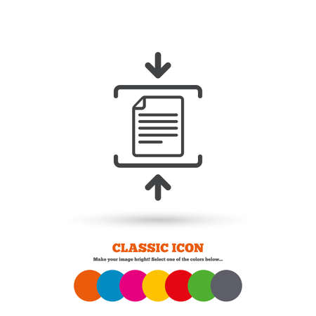 zipped: Archive file sign icon. Compressed zipped file symbol. Arrows. Classic flat icon. Colored circles. Vector