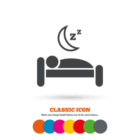 sleeper: Hotel apartment sign icon. Travel rest place. Sleeper symbol. Classic flat icon. Colored circles. Vector