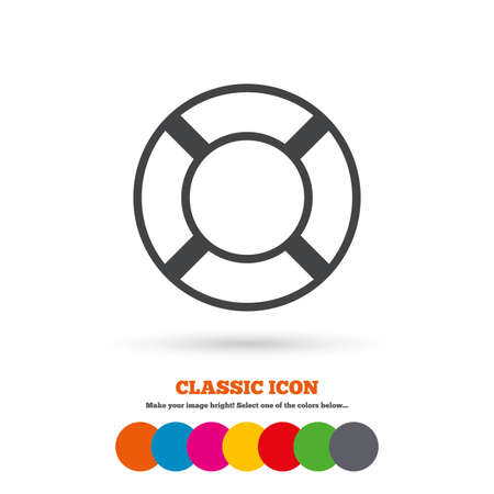 Lifebuoy sign icon. Life salvation symbol. Classic flat icon. Colored circles. Vector