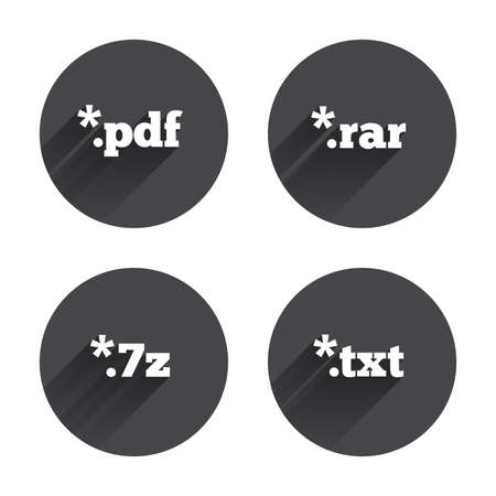 rar: Document icons. File extensions symbols. PDF, RAR, 7z and TXT signs. Circles buttons with long flat shadow. Vector Illustration