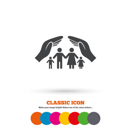 Family life insurance sign icon. Hands protect human group symbol. Health insurance. Classic flat icon. Colored circles. Vector