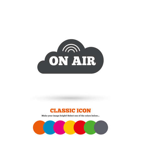 on air sign: On air sign icon. Live stream symbol. Classic flat icon. Colored circles. Vector