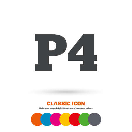Parking fourth floor sign icon. Car parking P4 symbol. Classic flat icon. Colored circles. Vector