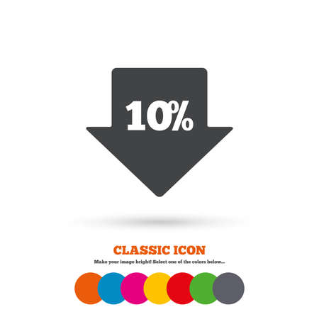 sale tag: 10% sale arrow tag sign icon. Discount symbol. Special offer label. Classic flat icon. Colored circles. Vector Illustration