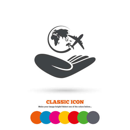 peace stamp: World trip insurance sign. Hand holds planet symbol. Travel insurance. World peace. Classic flat icon. Colored circles. Vector