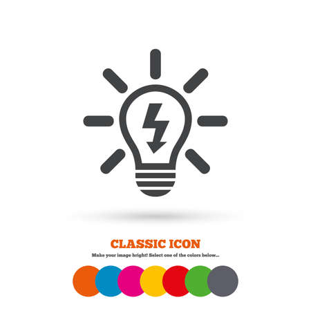 classic light bulb: Light lamp sign icon. Bulb with lightning symbol. Idea symbol. Classic flat icon. Colored circles. Vector