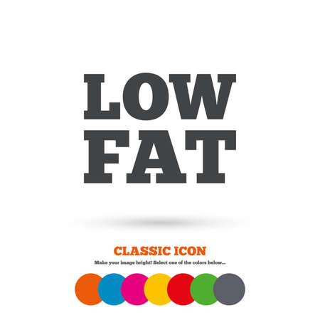 lowfat: Low fat sign icon. Salt, sugar food symbol. Classic flat icon. Colored circles. Vector