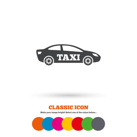 saloon: Taxi car sign icon. Sedan saloon symbol. Transport. Classic flat icon. Colored circles. Vector Illustration