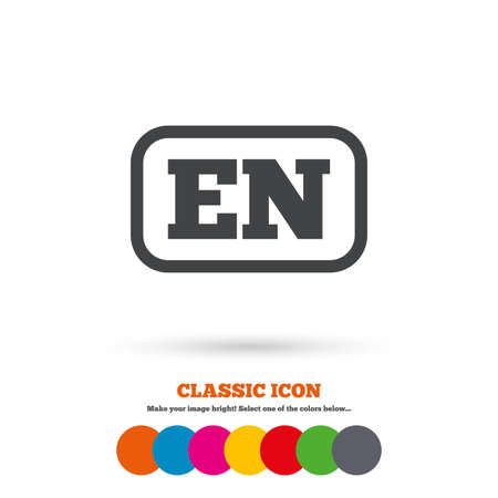en: English language sign icon. EN translation symbol with frame. Classic flat icon. Colored circles. Vector Illustration