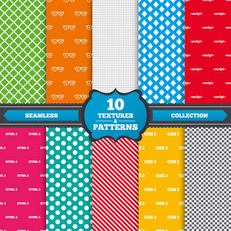 css3: Seamless textures. Programmer coder glasses icon. HTML5 markup language and CSS3 cascading style sheets sign symbols. Endless patterns with circles, diagonal lines, chess cell. Vector
