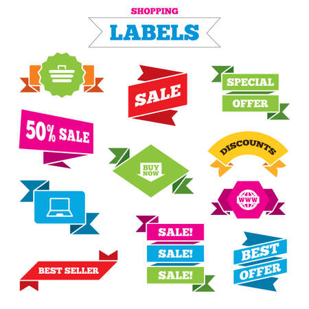 ultrabook: Sale shopping labels. Online shopping icons. Notebook pc, shopping cart, buy now arrow and internet signs. WWW globe symbol. Best special offer. Vector