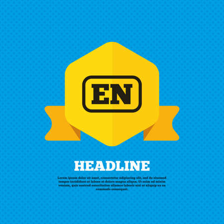 en: English language sign icon. EN translation symbol with frame. Yellow label tag. Circles seamless pattern on back. Vector