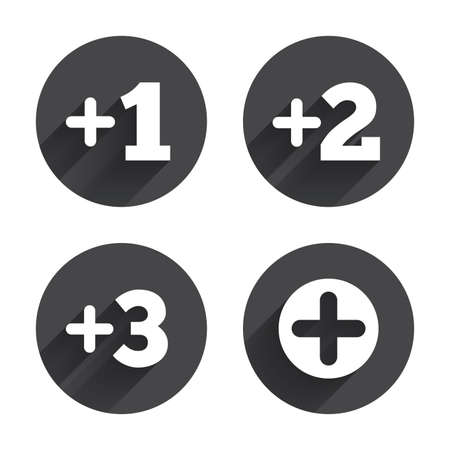 Plus Icons Positive Symbol Add One Two Three And Four More