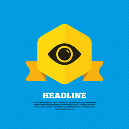 publish: Eye sign icon. Publish content button. Visibility. Yellow label tag. Circles seamless pattern on back. Vector