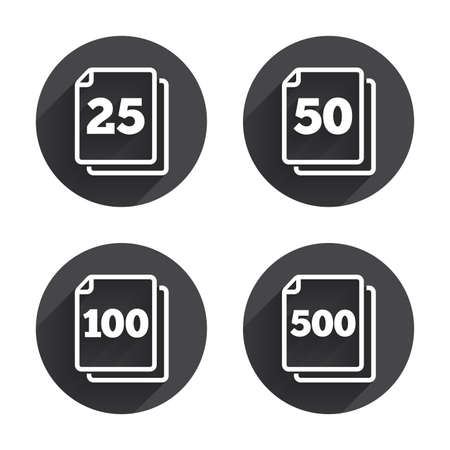 units: In pack sheets icons. Quantity per package symbols. 25, 50, 100 and 500 paper units in the pack signs. Circles buttons with long flat shadow. Vector Illustration