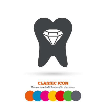 prestige: Tooth crystal icon. Tooth jewellery sign. Dental prestige symbol. Classic flat icon. Colored circles. Vector