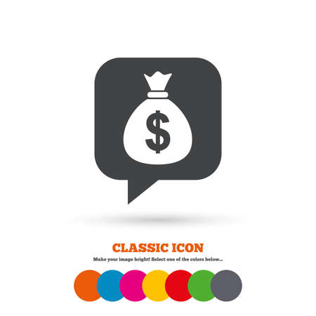 usd: Money bag sign icon. Dollar USD currency speech bubble symbol. Classic flat icon. Colored circles. Vector