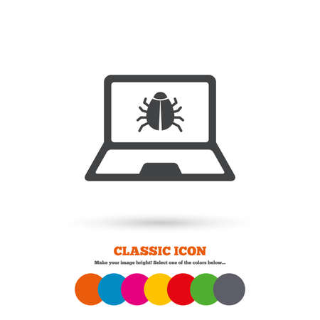 Laptop virus sign icon. Notebook software bug symbol. Classic flat icon. Colored circles. Vector Illustration