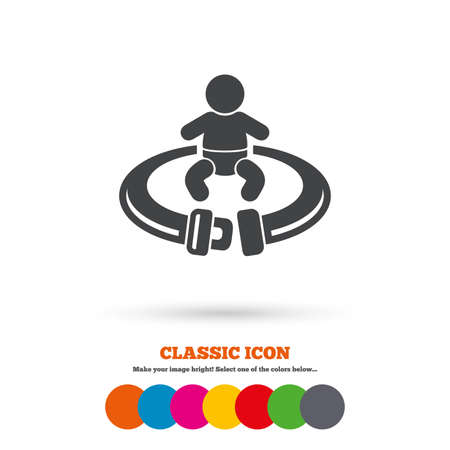 to fasten: Fasten seat belt sign icon. Child safety in accident. Classic flat icon. Colored circles. Vector Illustration