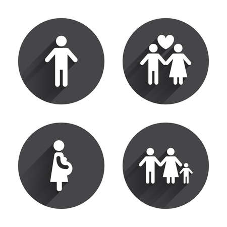birth sign: Family lifetime icons. Couple love, pregnancy and birth of a child symbols. Human male person sign. Circles buttons with long flat shadow. Vector
