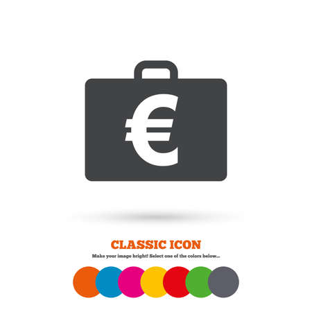 eur: Case with Euro EUR sign icon. Briefcase button. Classic flat icon. Colored circles. Vector